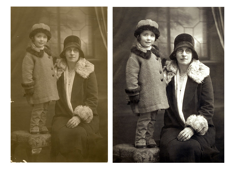 Portions of photograph missing and image faded and lacking depth
