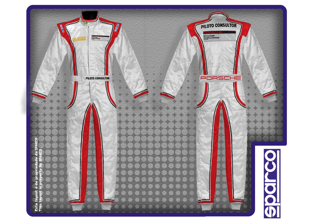 Layout of Sparco Racing Suits       for     Porsche Motorsport GT3 CUP CHALLENGE  BRAZIL   in Mogi- Guaçu / Brazil, 2013