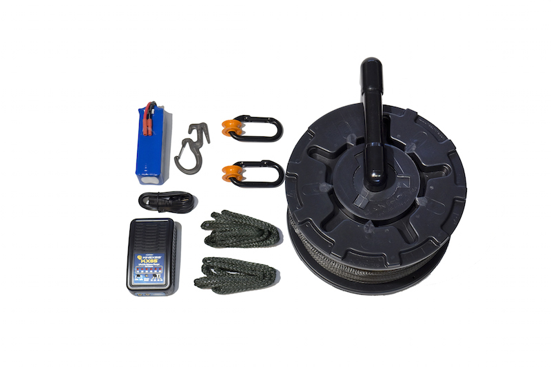 Cable Cam line, rigging, pulleys, wheels and battery