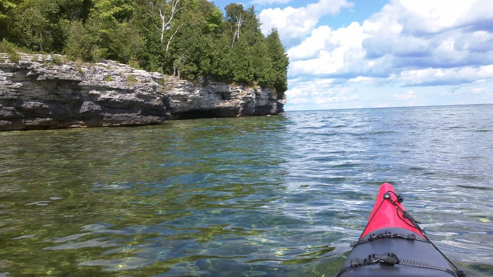 Kayaking from Whitefish Dunes to Cave Point