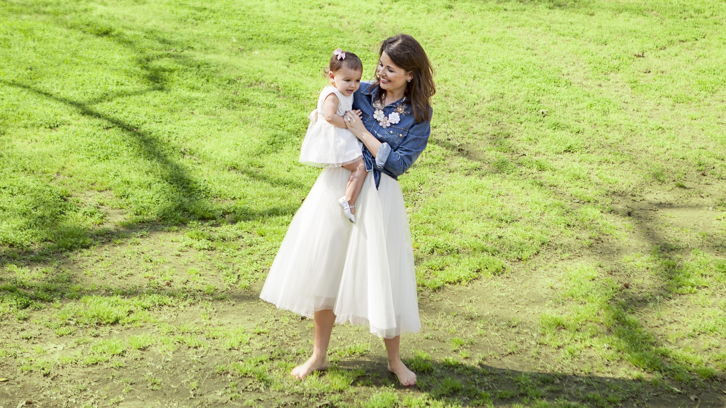 Rachel Haynes and Baby Nora Cate on the site of their new wedding venue.