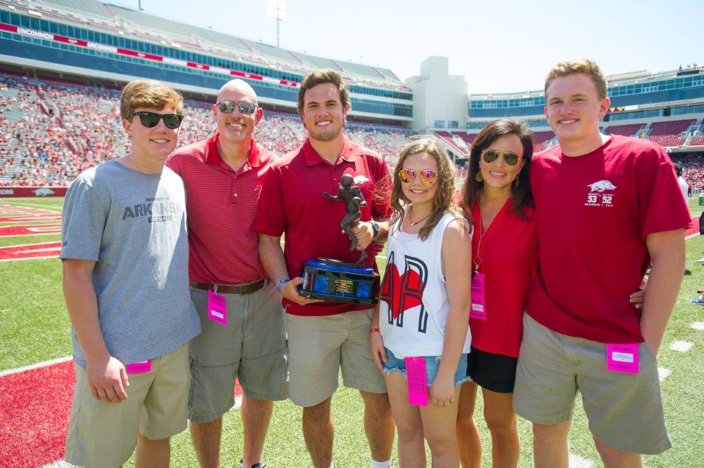 Hayden, Mark, Hunter, Hope, Jenny and Hudson Henry cheering on Hunter as he accepted the 2015 John Mackey award for best tight end in the nation.