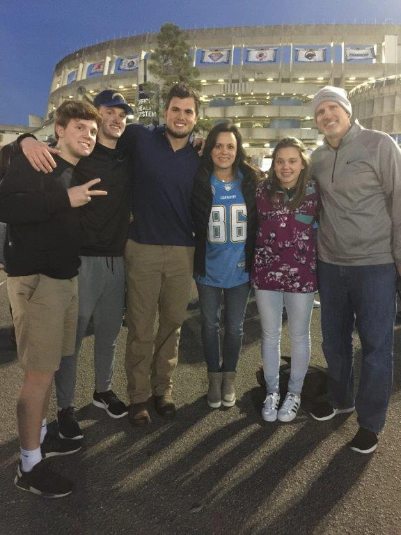 Hayden, Hudson, Hunter, Jenny, Hope and Mark on New Year's Day in front of Qualcomm Stadium in San Diego, the former home of the Chargers.
