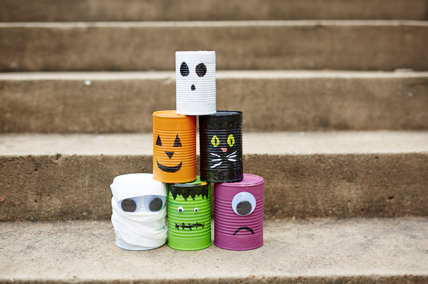 Monster Can Topple halloween game for kids