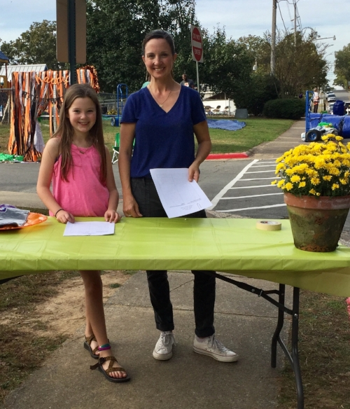 Manning the check-in booth at the Jefferson Fall Carnival!