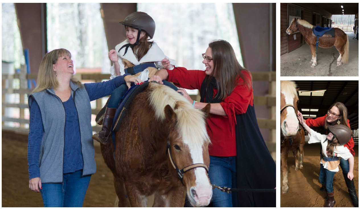 """Michele Easter (left) program director at Hearts and Hooves and Ellie's mom, Glenda Grimmett (right) act at Ellie's """"side-walkers"""" to keep her safe and sitting on the horse for her lessons."""
