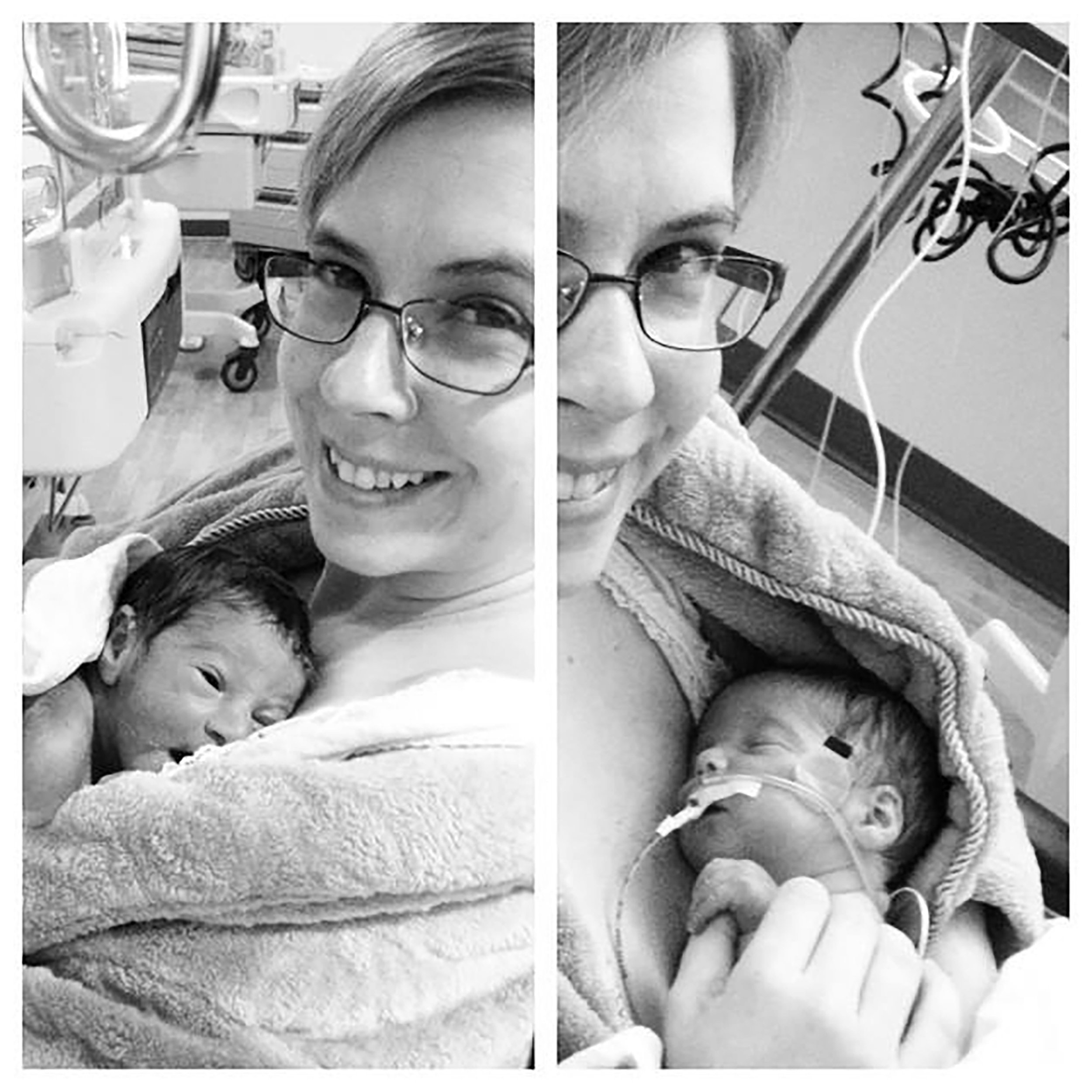 JENNY RUUD HOLDING TWINS LUCAS AND ELIJAH FOR THE FIRST TIME IN THE NICU THE DAY AFTER THEY WERE BORN.