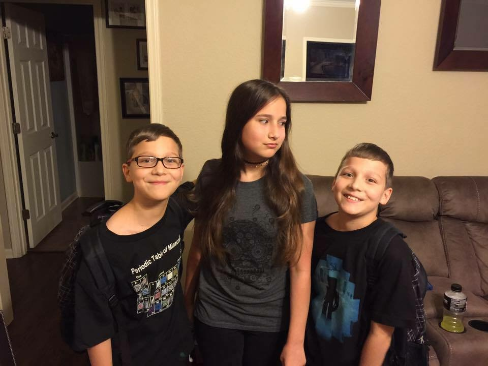 First day of eighth grade for Brenna and sixth grade for Max and Alex.