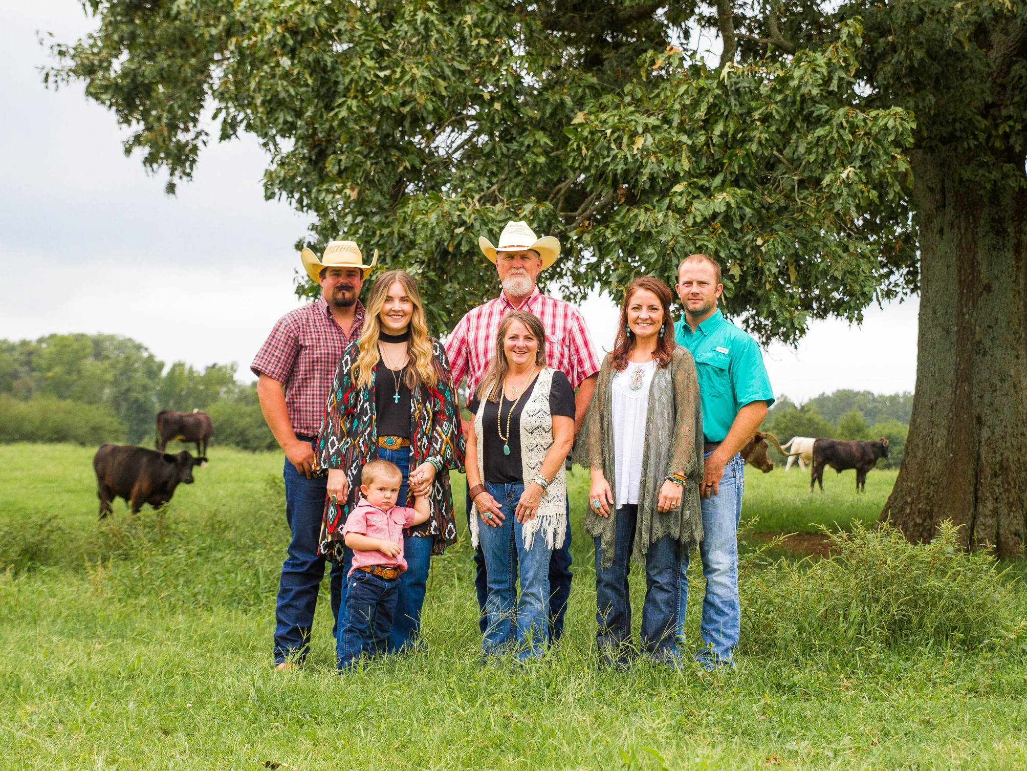 from left) Nathan Cox, Heather Cox, Jasper Cox, Raymond Daley Jr., Cendie Daley, Amanda Galloway and Travis Galloway on the family farm.