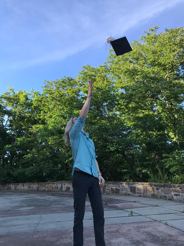 My oldest son feeling a little post-graduation joy.