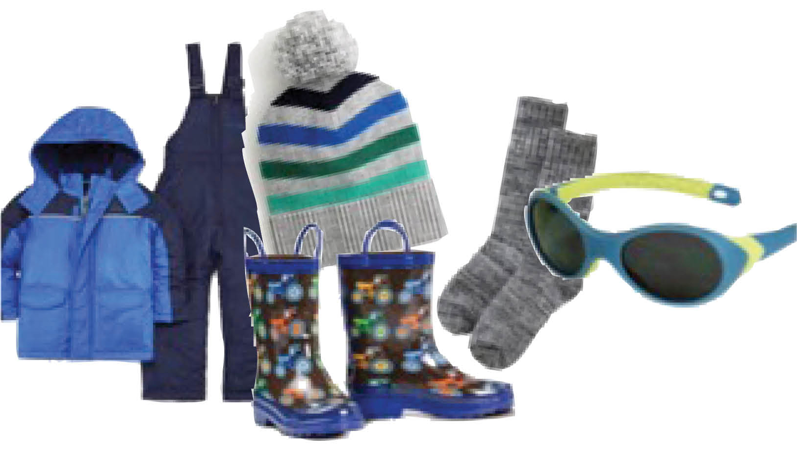 Wardrobe must-haves also include: thick wool socks with rain boots or snow boots. A Snow suit or coveralls, warm beanies and shades! Sunglasses are a bonus when playing in the snow.