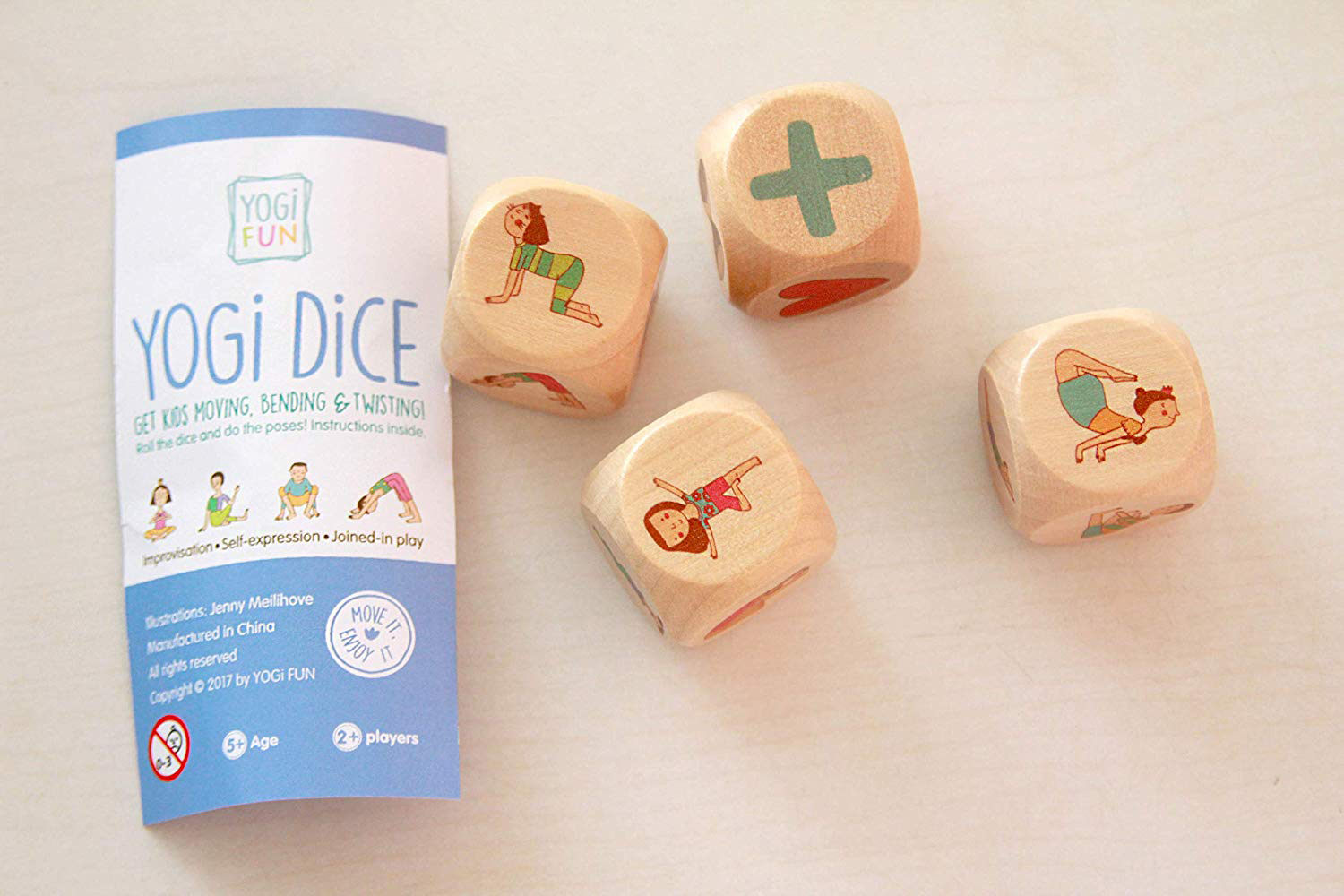 Make it a game! Roll the Yogi Dice to pick a pose. My little one loves to stack the blocks and roll them on his mat. Plus, when I start to show him the pose, he does it along with me!