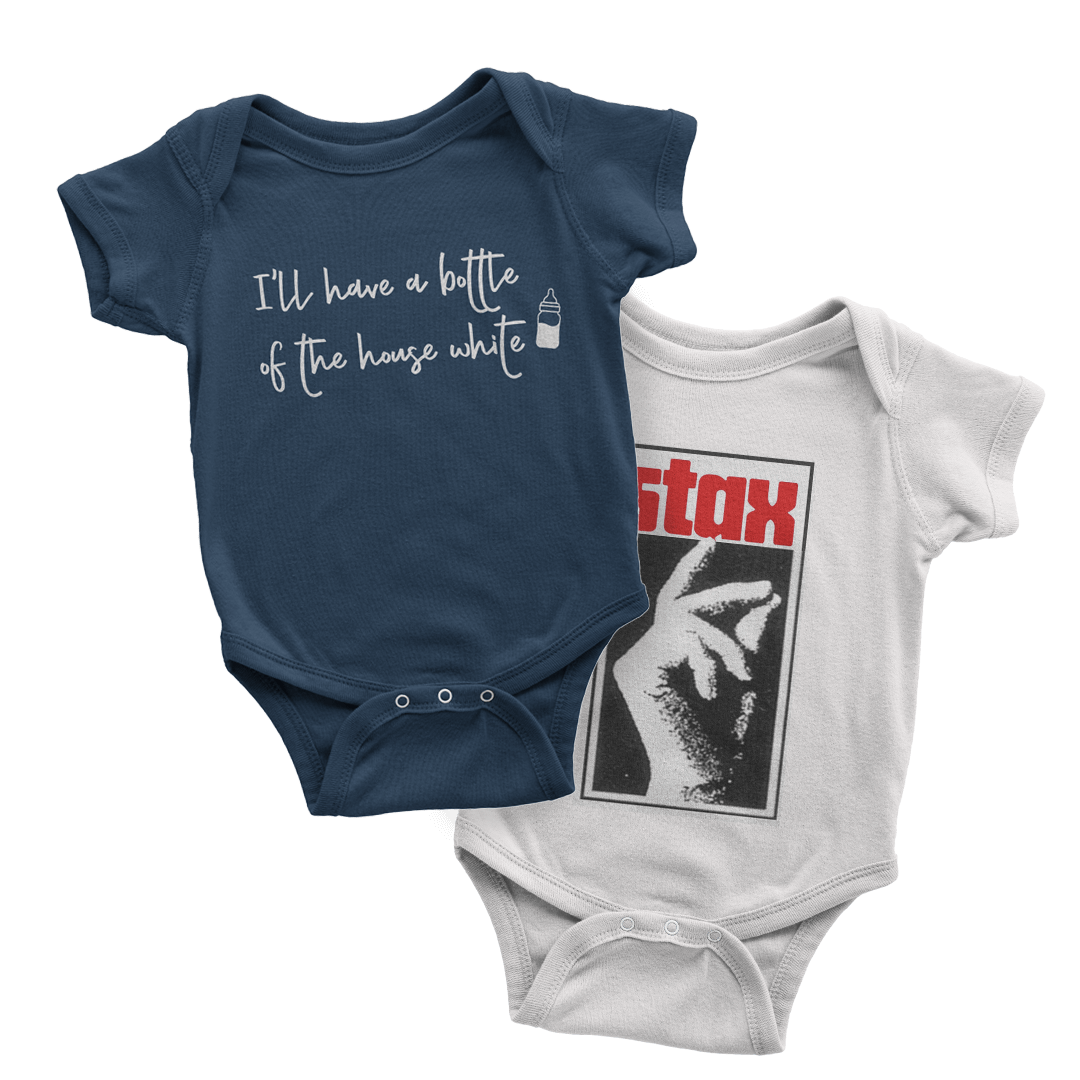 Dressing a baby can be hard with only two hands! One-piece outfits that zip or button are the easiest to grab and wrangle. We love these from trendyprintshop.com and the Stax Museum gift shop.