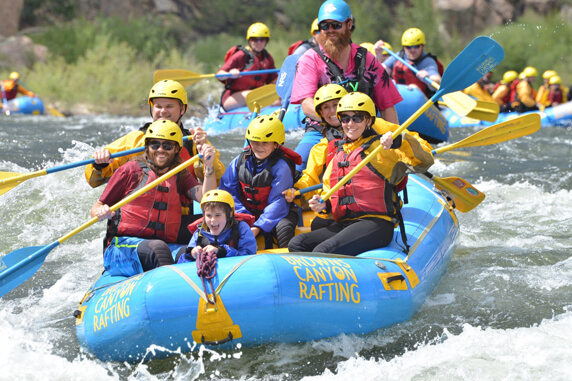 the johnson family rafting during a family trip to Vail, Co.