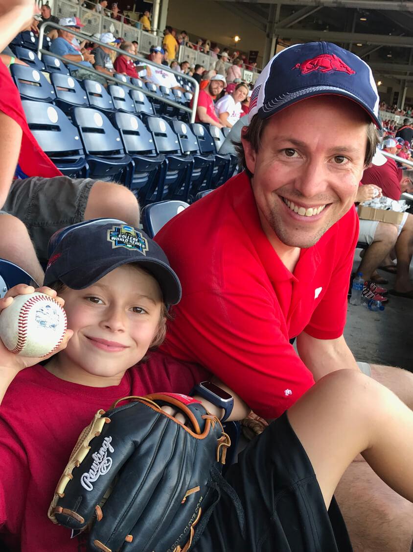Ellis and Clarke at a razorback baseball game