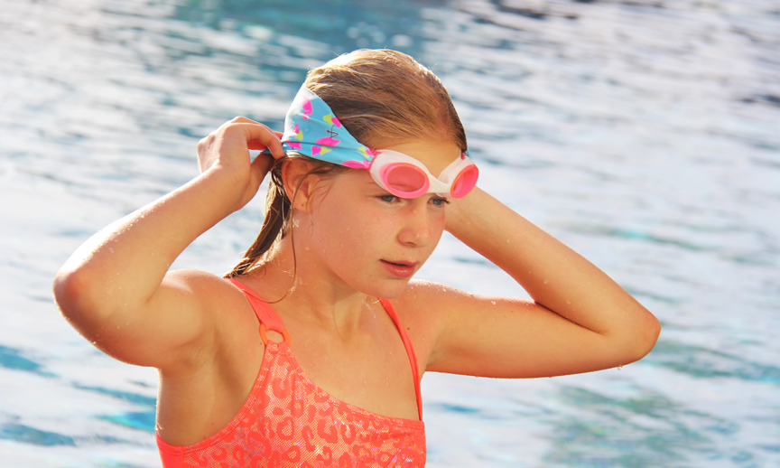 Splash swim goggles are a new find for me this year! The fabric strap doesn't break easily or get stuck in long hair, it's also easier for younger kiddos to put on without assistance. I found out about these from a client of mine who loves them for helping keep her daughter's cochlear implants on when she swims.