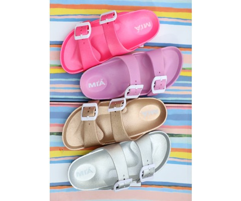 I bought these MIA shoes for my daughter to wear as pool shoes this year. They are so soft and comfy, and a more reasonably priced version of the Birkenstock Eva sandals that are so popular.