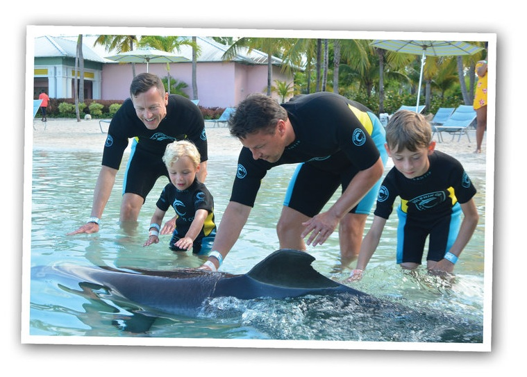 (From left) Shane, Jack Campbell, Curtis and Corey playing with the dolphin at Atlantis in the Bahamas.