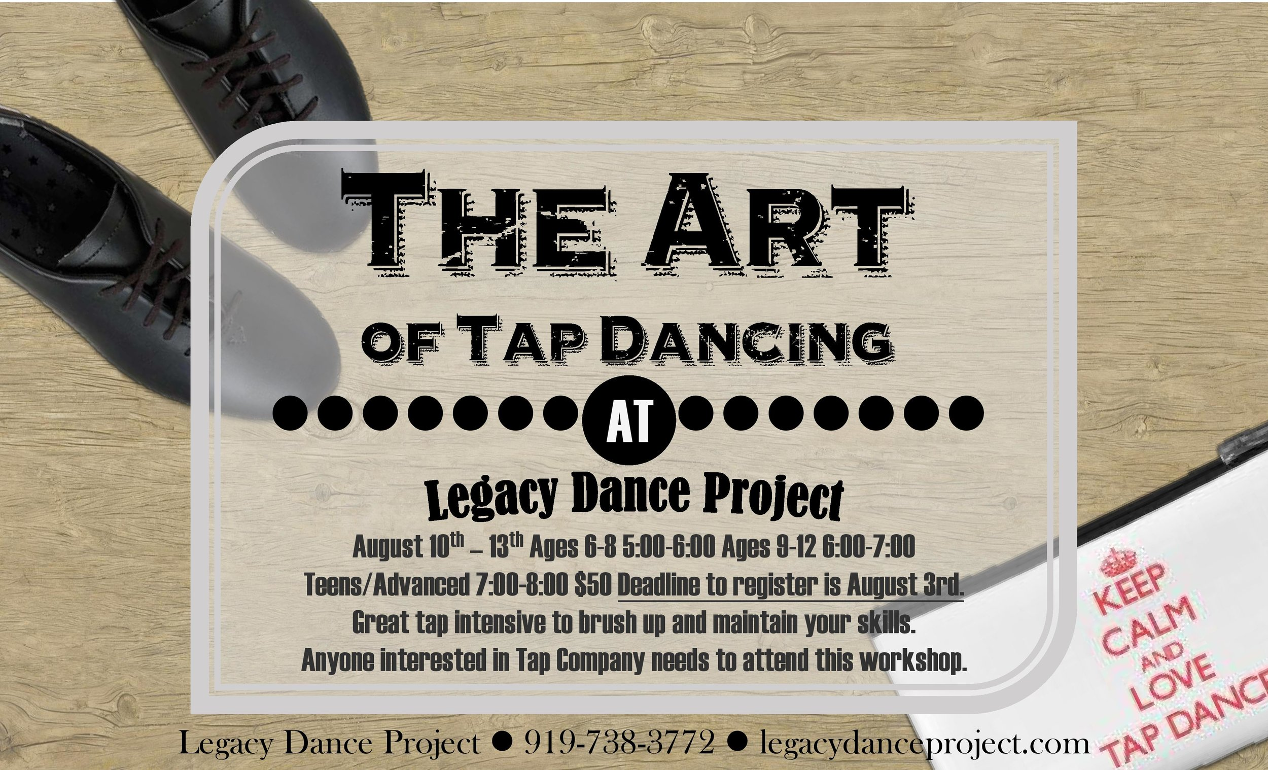 Just what the toe-tapping dancer needs! Anyone wanting to join LDP's tap company is also REQUIRED attend.
