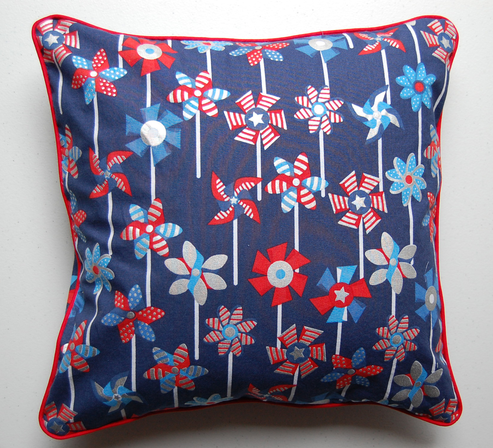 Patriotic Pillow with Piped Edges