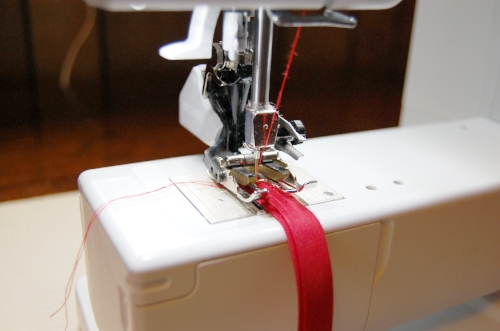 Figure 12:  topstitching the bias tape