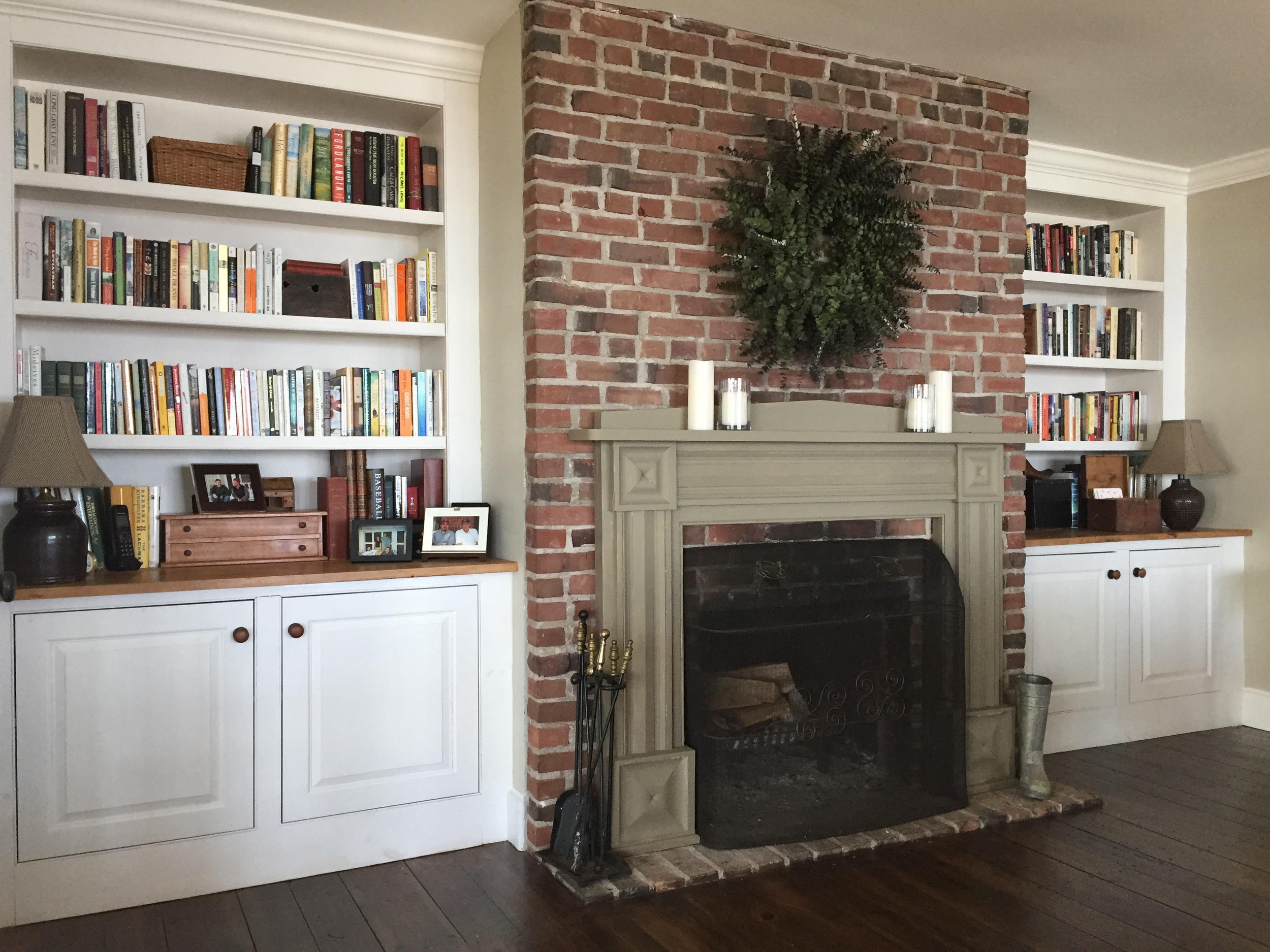 Painted Hardwood Library Built-in