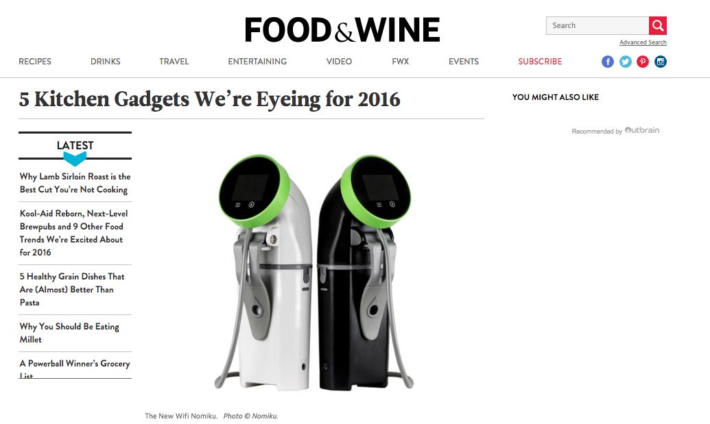 Wi-Fi Nomiku Featured in Food & Wine