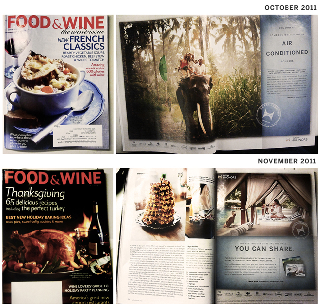 My Hilton HHonors Ads in Food & Wine