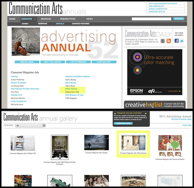 Won Best Consumer Ad in Communication Arts Advertising Annual 52
