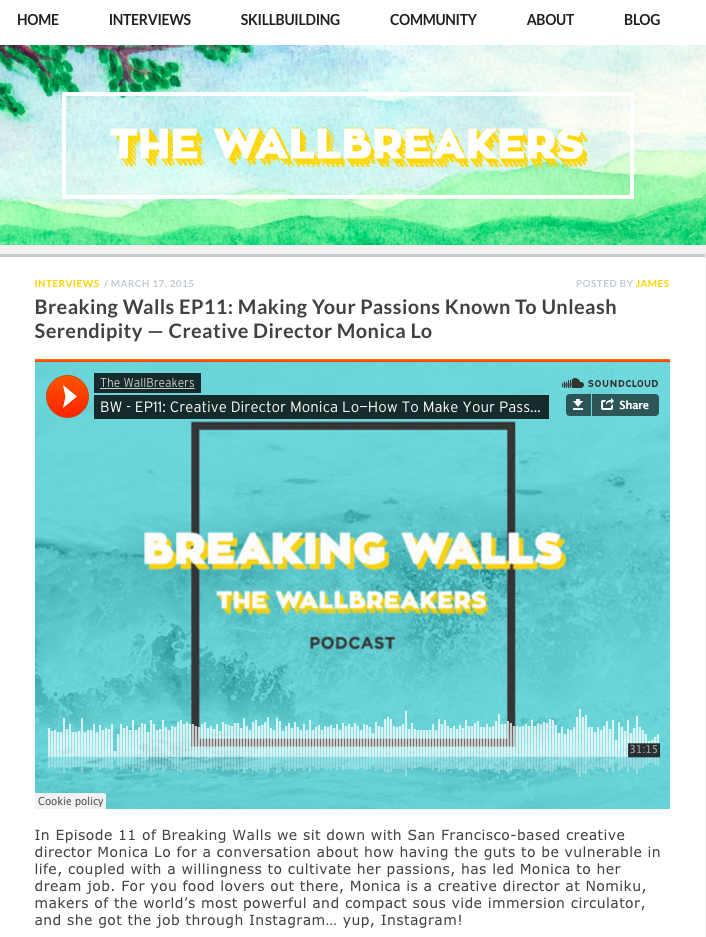 My Wallbreakers Podcast Interview on Passion & Serendipity