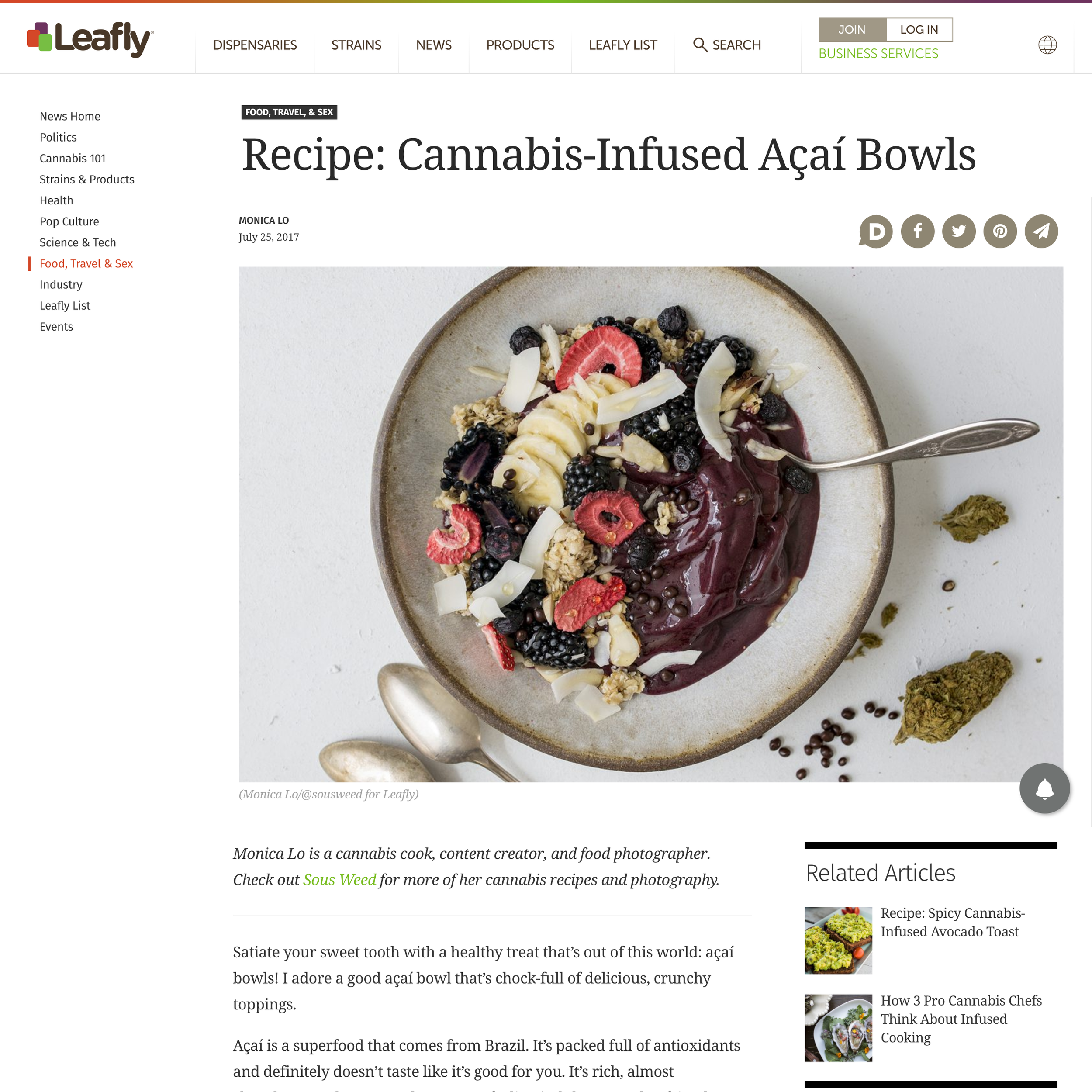 Recipe Feature on Leafly