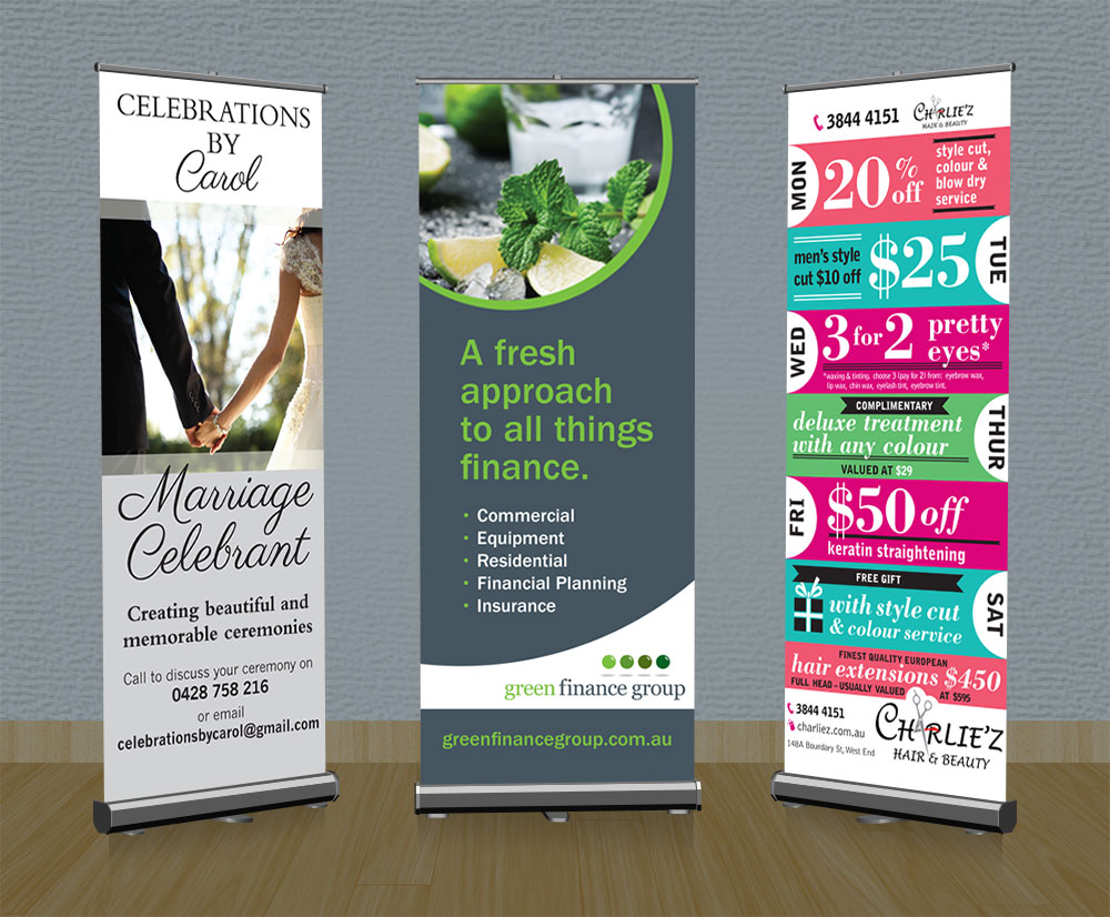 Some examples of pull-up banners designed for my clients.