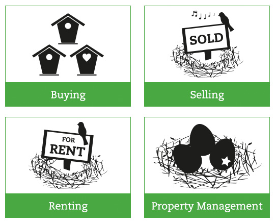 Website graphics / buttons for Habitat Property Management.