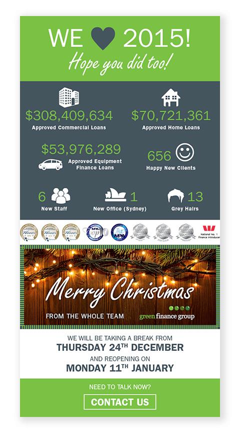 Green Finance Group graphics for Christmas e-news.