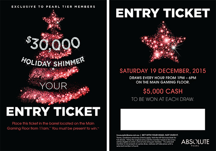 On property gaming promotion concept / ticket design