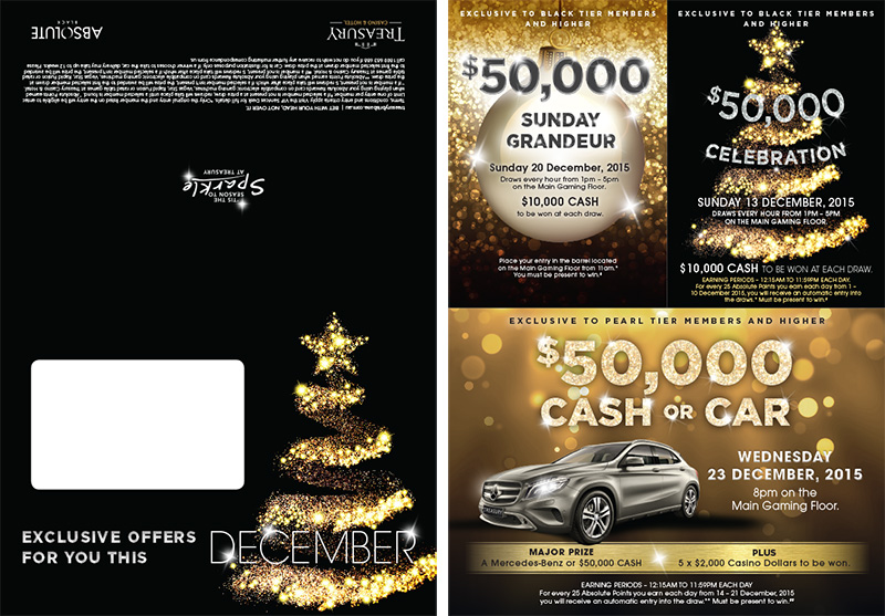 Direct mailer – Black rewards tier Christmas theme, includes gaming promotion concepts