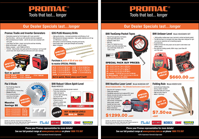 Double sided monthly specials flyer