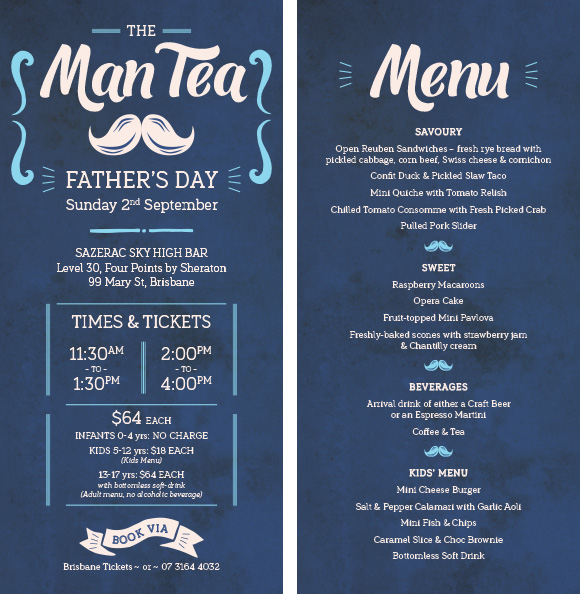 Creative for event advertising & menu