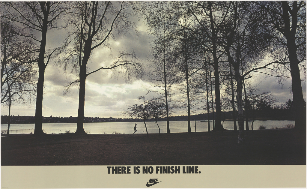 """Poster, There Is No Finish Line, 1977; Designed by John Brown & Partners ; USA; offset lithograph on paper; 56 x 91.3 cm (22 1/16 x 35 15/16 in.); Gift of Various Donors; 1981-29-205. Used per Cooper Hewitt's """"Fair Use"""" guidelines."""