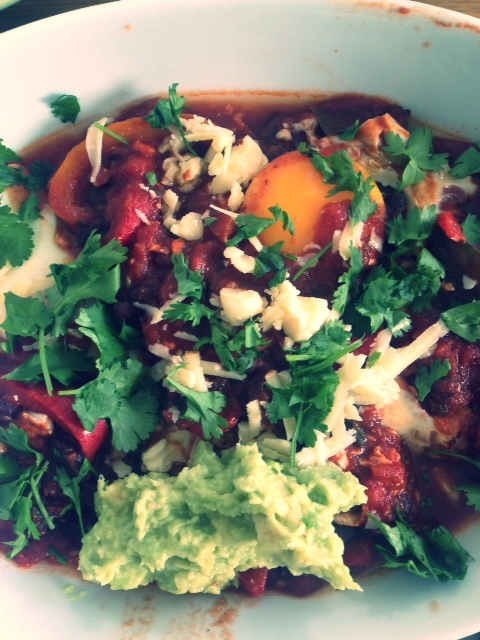This weeks brunch. Huevos rancheros. Black Beans. Mashed avocado.