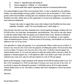 Prause demands $10,000, page 2