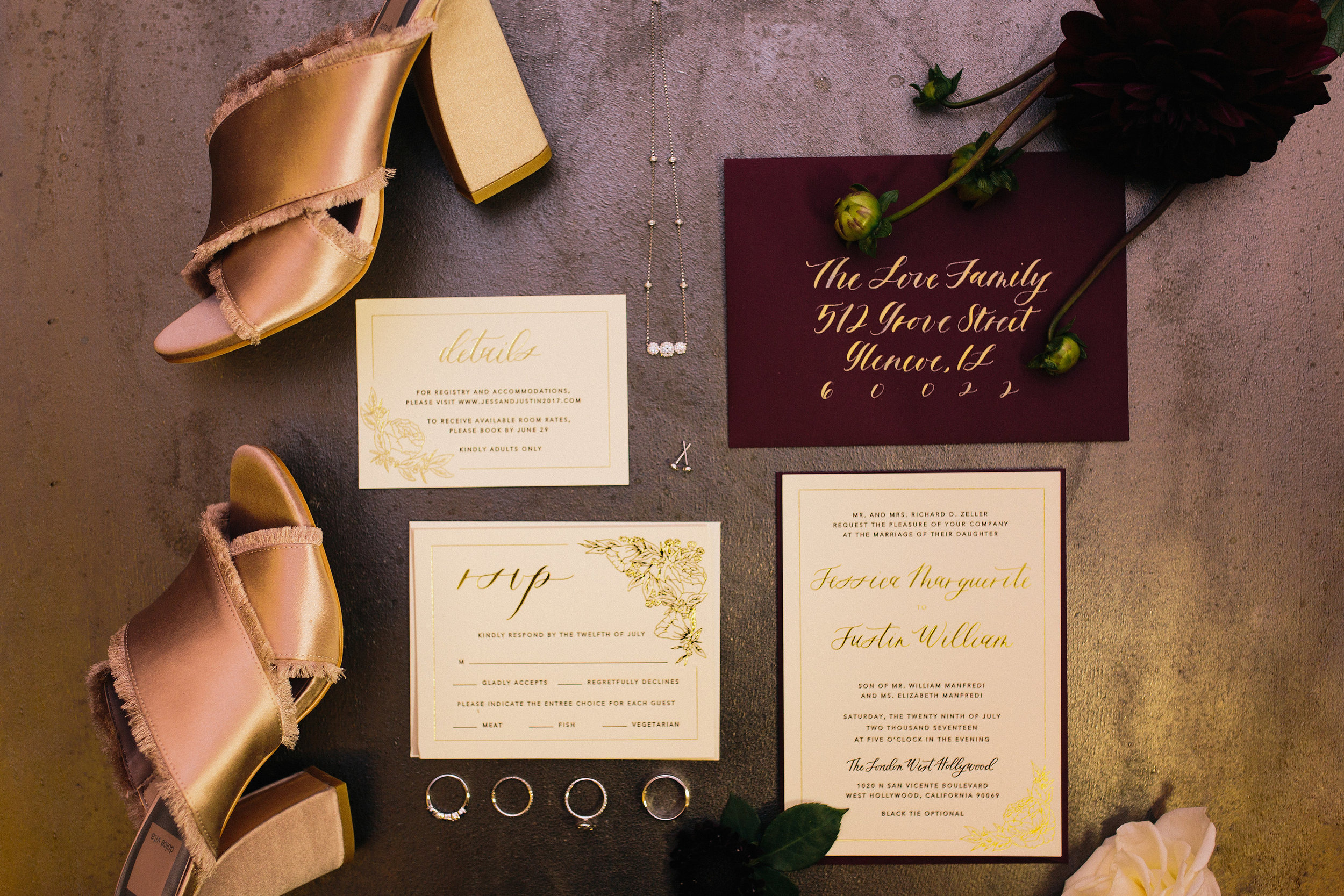 foil calligraphy invitation