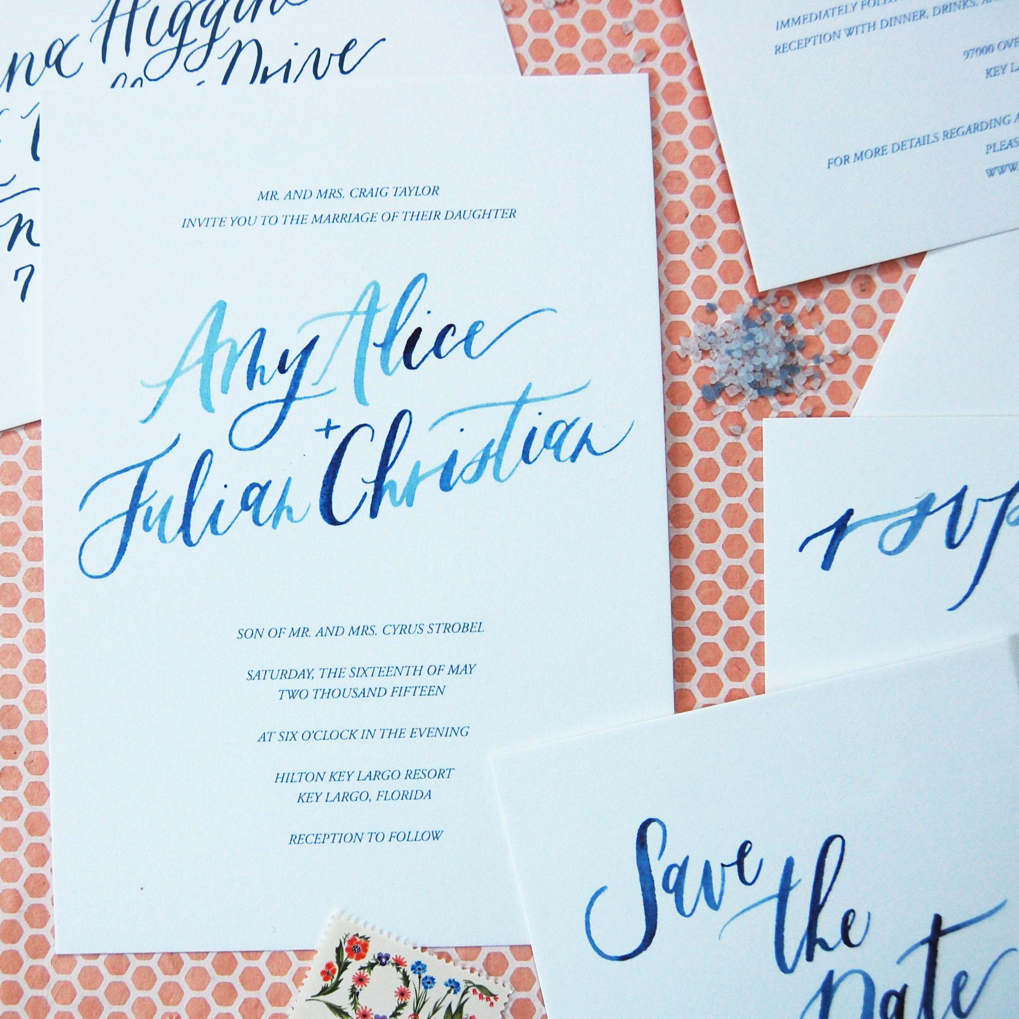 watercolor calligraphy invitations