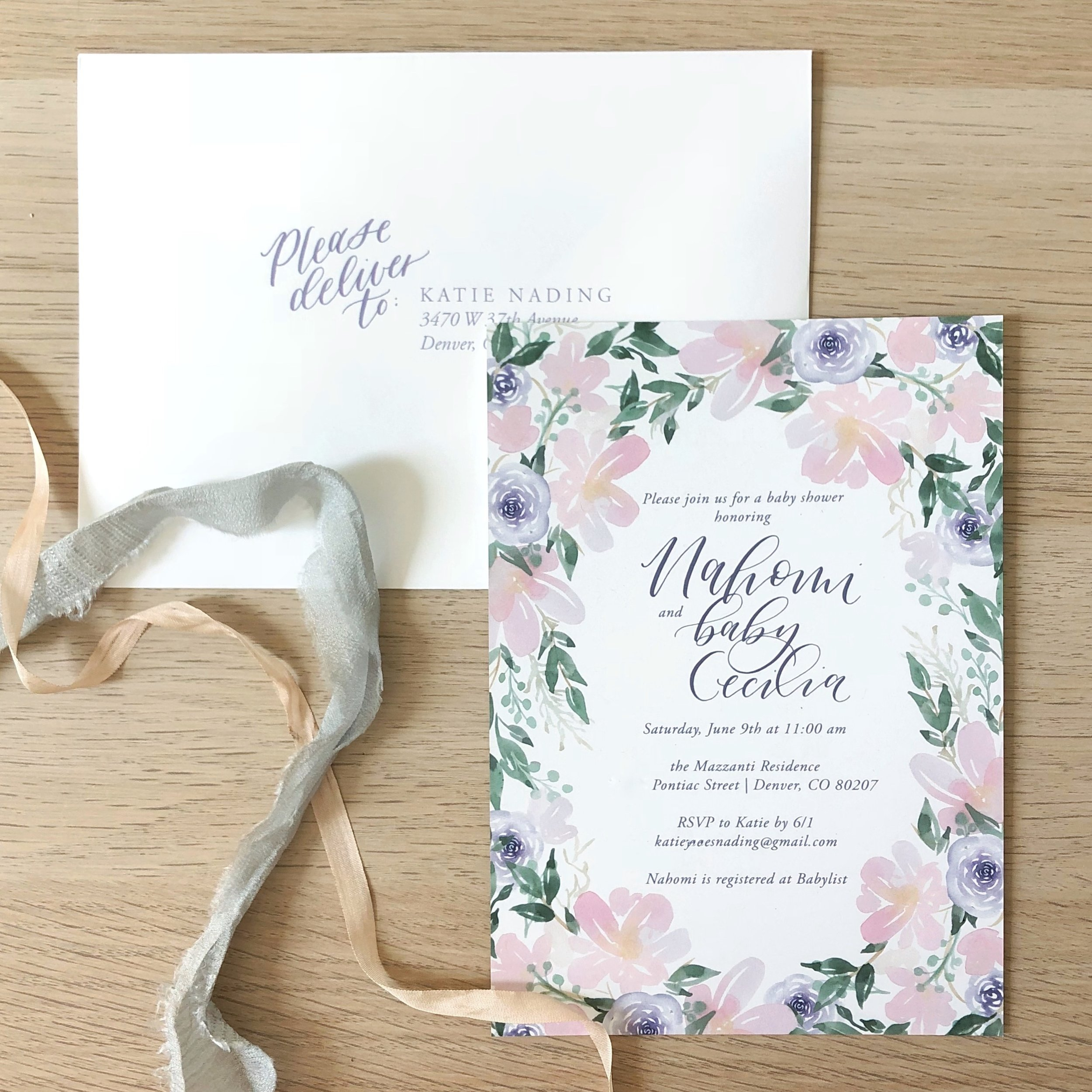 floral calligraphy invitations