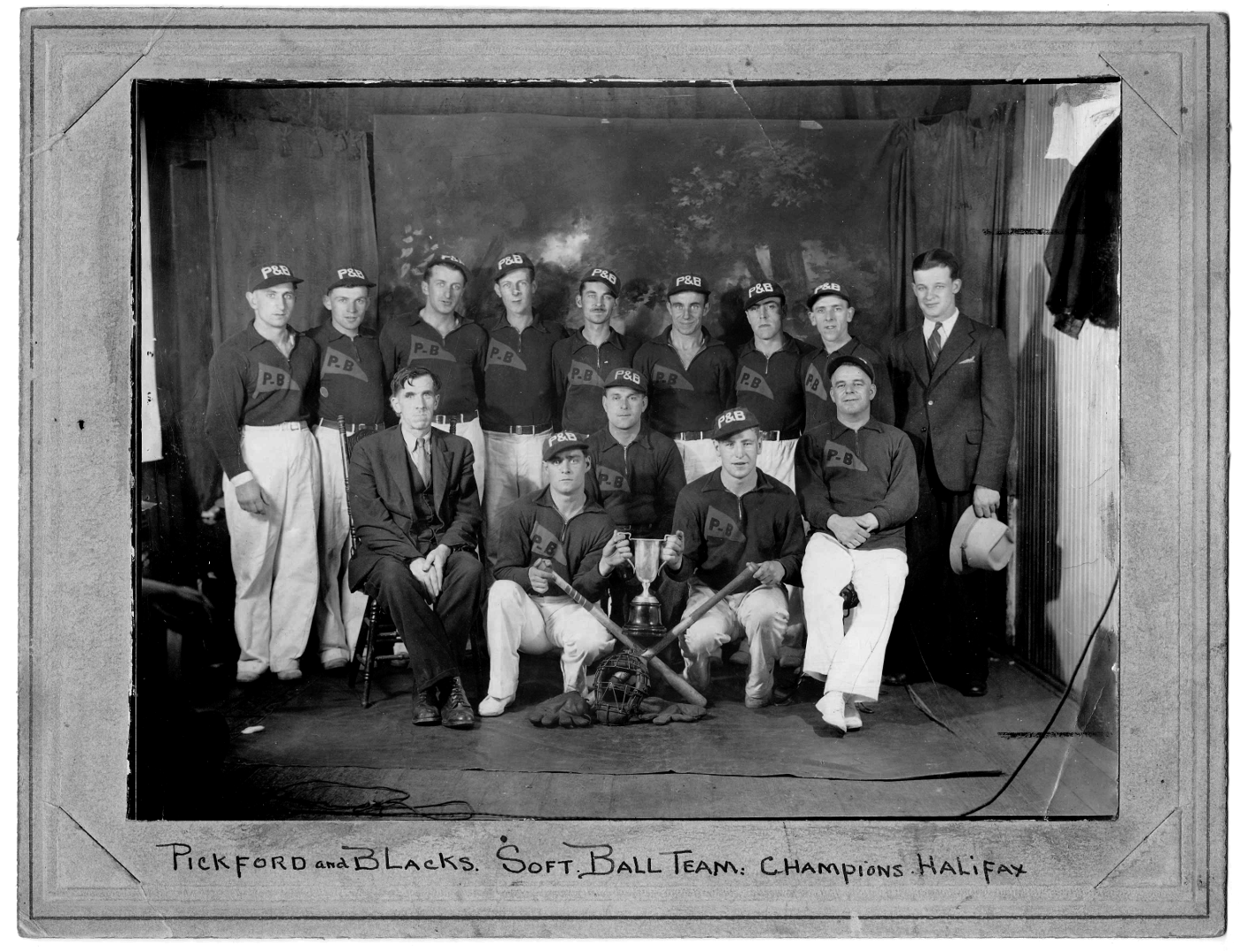 Halifax softball champs, the Pickford and Blacks, throwing shadein the 1920s