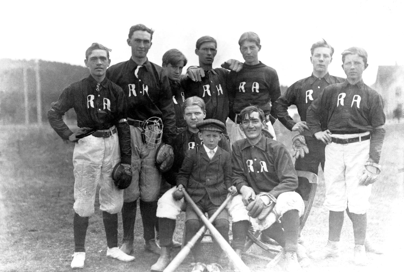 Everybody's like jet planes, islands, tigers on a gold leash on the Halifax Royal Academy Baseball Crew circa 1930