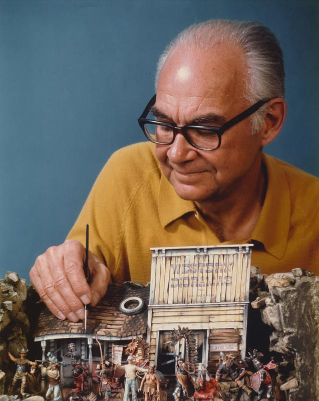 Ray Anderson working on a box diorama paying tribute to his recurring themes and characters.
