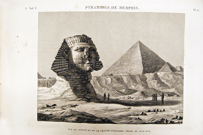 The Sphinx being examined,Déscription de l'Égypte, A. Vol.V, Pl. 11