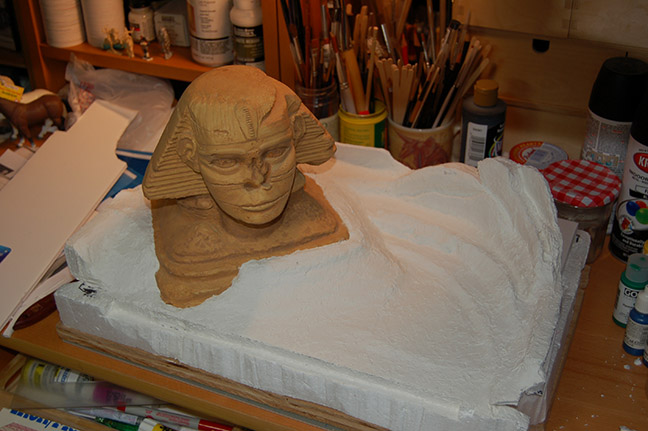 The actual Sphinx on its real base of plywood, cardboard, Styrofoam, and modeling paste.