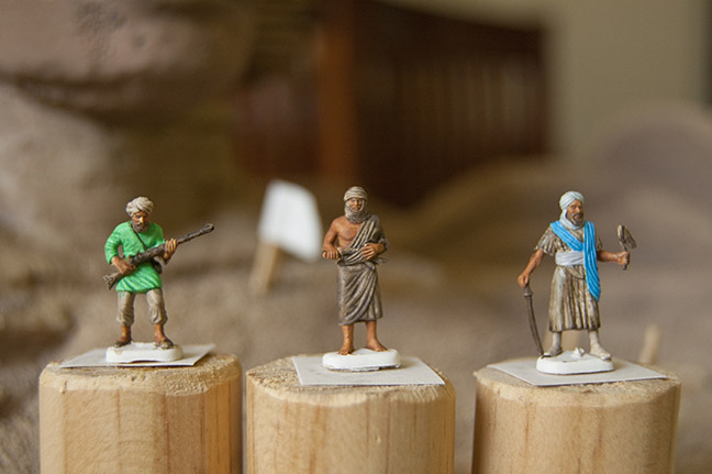 Close-up of 20mm Arab/Turkish allies of French during painting. (The sheikh does not yet have his tri-colored sash—a gift for his loyalty!)